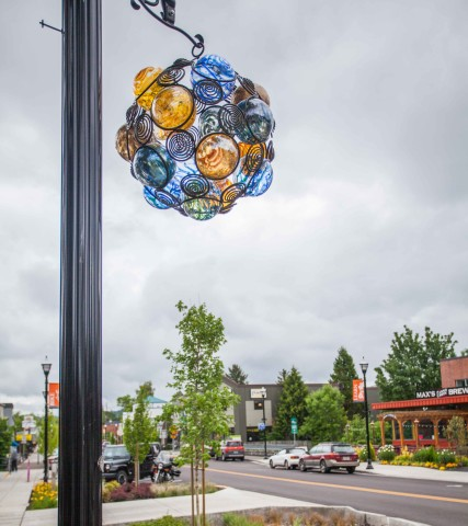 Glass art installations line Tigard's Southwest Main Street.