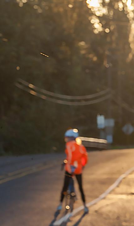 Cyclist on bikeway