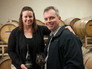 Kevin Johnson and Beth Klingner of Dion Vineyard in Cornelius, Oregon