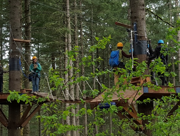 Zip-lining at Tree to Tree Adventure Park in Gaston in Oregon's Tualatin Valley