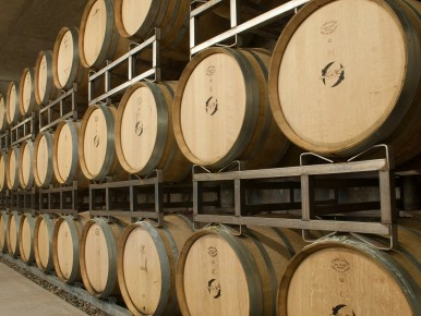 Wine Barrels at Hawks View Winery in Sherwood, Oregon