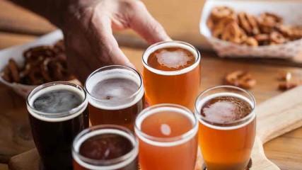 A flight of beer at Vertigo Brewing in Hillsboro, Oregon