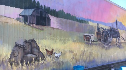 Painting a mural in North Plains, Oregon