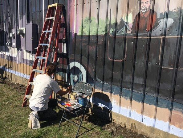 Painting a mural in North Plains, Oregon in the Tualatin Valley