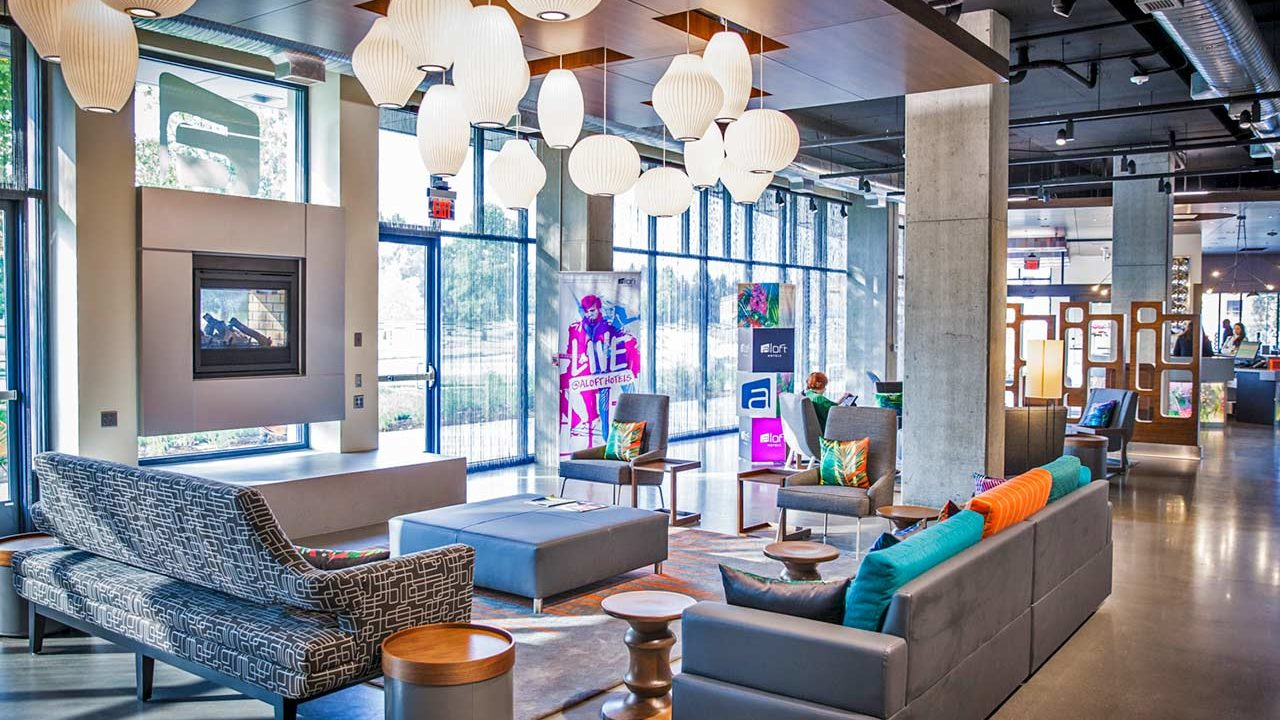Aloft Hotel lobby in Hillsboro, Oregon