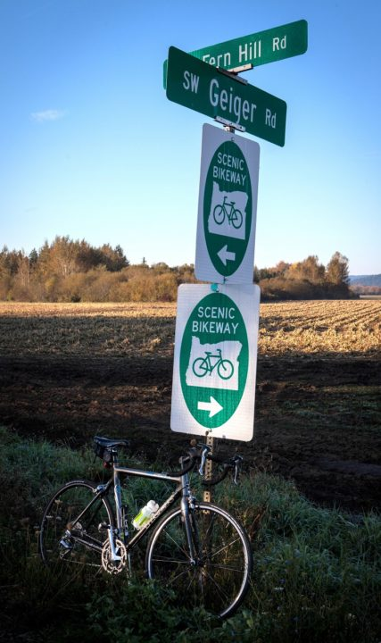 Scenic Bikeway sign in Oregon's Tualatin Valley
