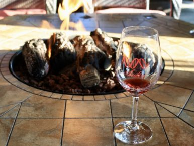 Ardiri Winery and Vineyards wine glass and firepit