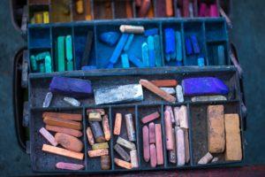 Art box of chalk pieces