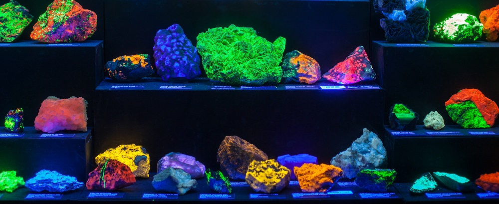 Fluorescent rocks at the Rice NW Museum