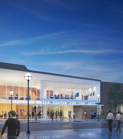 Renderings of the Patricia Reser Center for the Arts exterior