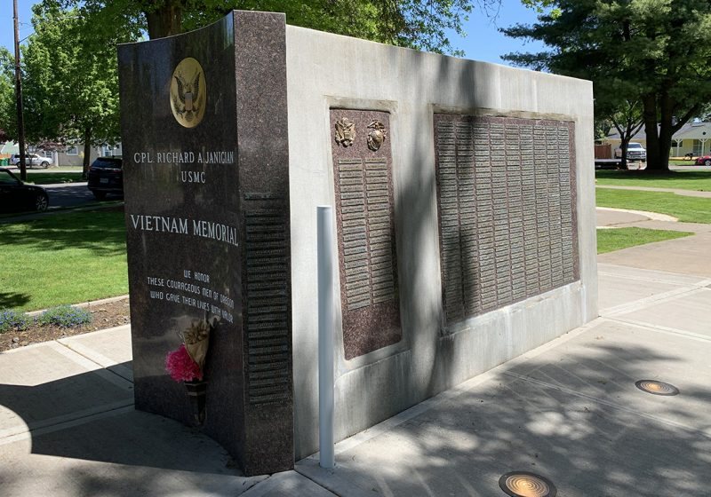 A Vietnam War memorial monument at the Veterans Memorial Park in Beaverton.