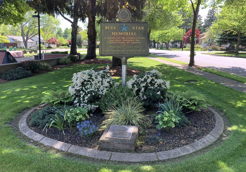 A monument to American service personnel who served in the Armed Forces at the Veterans Memorial Park in Beaverton.