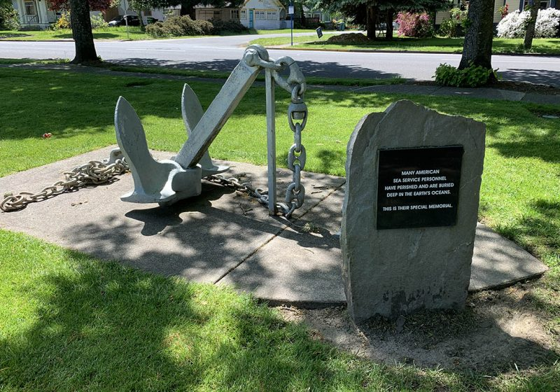 A monument to American service personnel who died at sea in the Veterans Memorial Park in Beaverton.