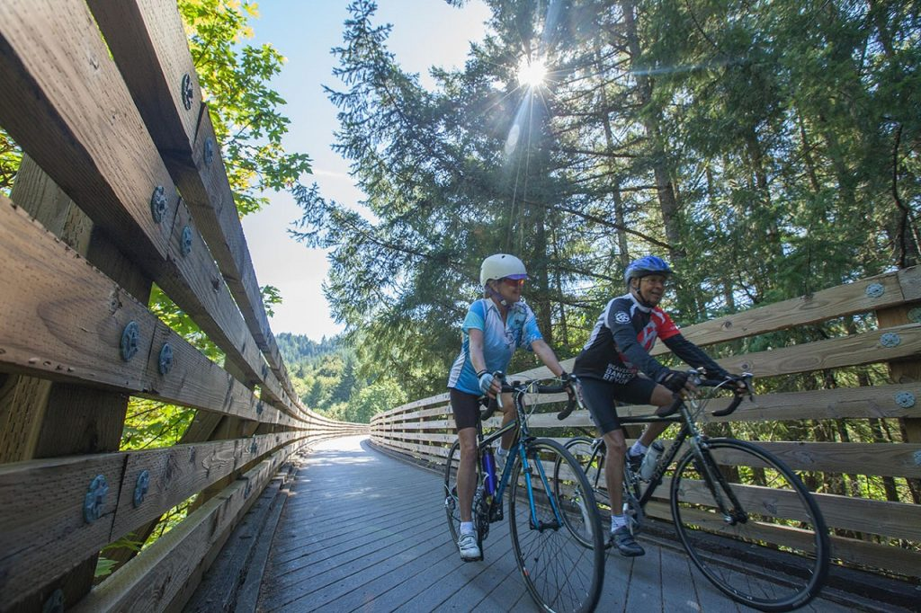 Two cyclists ride the Banks-Vernonia State Trail