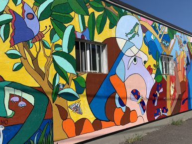 """The School of Outdoor Learning"" mural in downtown Beaverton"